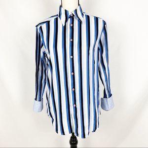 Robert Graham Blue Vertical Striped Button Down